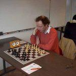 Peter Bauer (HP) während seiner Partie gegen FM Igor Berezovsky (0-1 für Berezovsky).