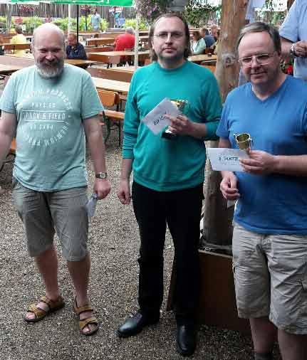 von links: IM Vadim Cernov, IM Mikhail Zaitsev, Torsten Schulte